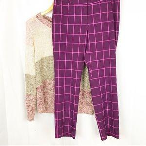 Worthington | Plaid Pattern Pants | Plum | 6